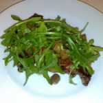 Danish entrecote steak beef porcini mushrooms and arugula